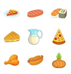 tart icons set cartoon style vector image