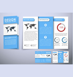 Template triple folding brochure design style vector