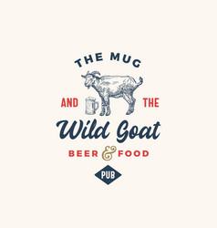 The mug and goat pub or bar abstract sign vector
