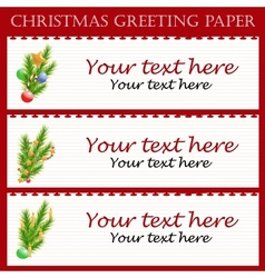 Three Christmas greeting paper with text vector image