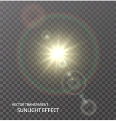 transparent sun sunlight with rays glow vector image vector image