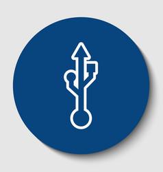 Usb sign white contour icon vector