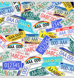 vehicle registration plates seamless pattern vector image