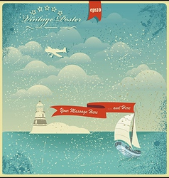 Vintage seaside view poster background vector