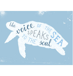 voice sea speaks to soul lettering vector image