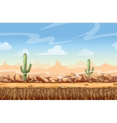 Wild West desert landscape cartoon seamless vector image
