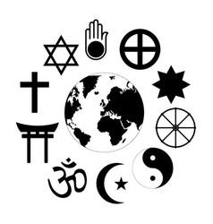 World religions planet earth flower world vector