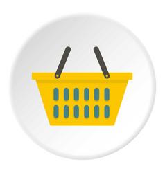Yellow plastic shopping basket icon circle vector
