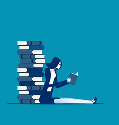 young business with huge stack books business vector image