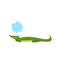 Young green cute cheerful crocodile spends his vector
