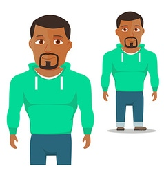 Black Man in green hoody Cartoon Character vector image