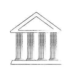 blurred silhouette cartoon skecth parthenon vector image