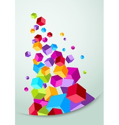 Colorful banner with cubes flying vector image