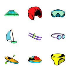 aqua icons set cartoon style vector image vector image