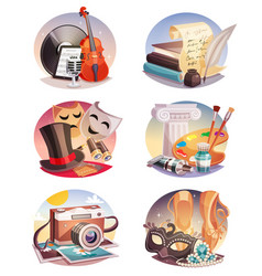 arts round compositions set vector image