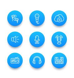 audio line icons set vector image