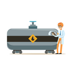 engineer of oil industry controlling the process vector image vector image