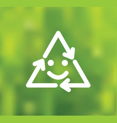 green smile recycling symbol on background vector image