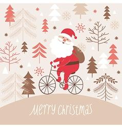 Santa claus rides a bicycle vector image vector image