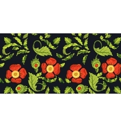 Seamless red color flowers pattern vector image