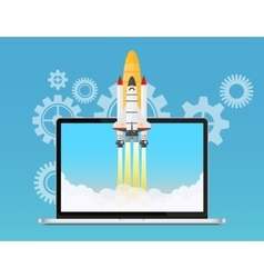 Web start up and development concept Space rocket vector image vector image