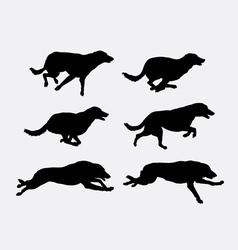 Dog running pet animal silhouette vector image vector image