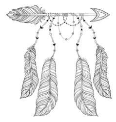 ethnic Arrow with bird feathers boho style concept vector image vector image