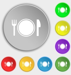 Plate icon sign Symbol on eight flat buttons vector image vector image