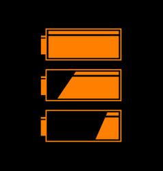 set of battery charge level indicators orange vector image