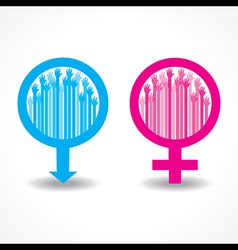Colorful raised hand in the male and female symbol vector image vector image