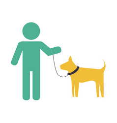 man with cute dog mascot icon vector image