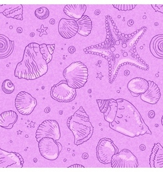 Pink seamless seashells pattern vector image