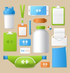 sport fitness identity template mockup vector image