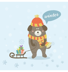 a winter scene with cartoon dog vector image