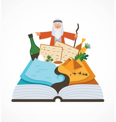 Abstract passover story haggadah book over vector