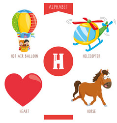 alphabet letter h and pictures vector image