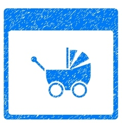 Baby Carriage Calendar Page Grainy Texture Icon vector