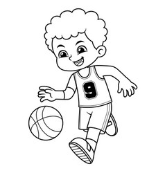 Basket ball boy performing dribble bw vector