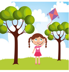 beautiful little girl playing with kite in the vector image