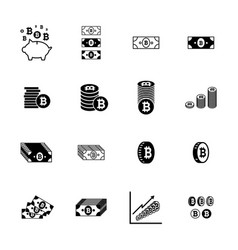 bitcoin icons collection vector image