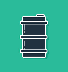 Blue metal beer keg icon isolated on green vector