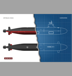blueprint submarine military ship vector image