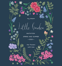 Botanical card with flowers vector
