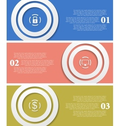 Bright infographic tech banners vector