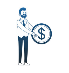 businessman holding coin blue lines vector image