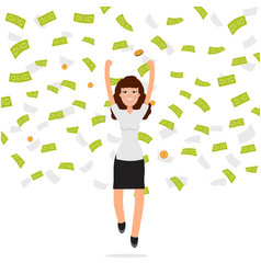 businesswoman jumping in money rain finance vector image