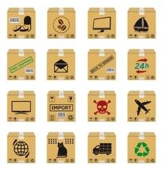 Cardboard boxes set vector