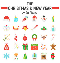 christmas flat icon set new year signs vector image