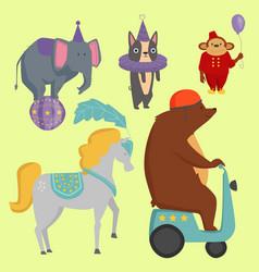Circus funny animals cheerful zoo vector