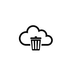 cloud computing trash bin flat icon vector image